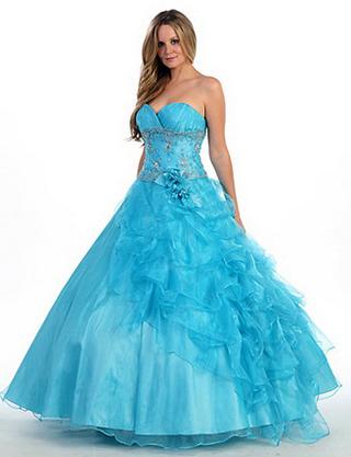 Синее бальное платье