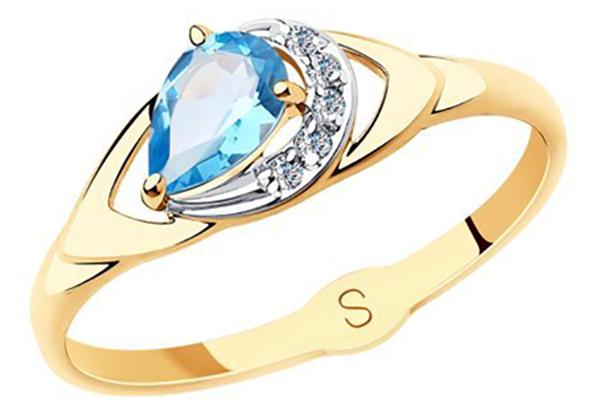 Большое кольцо с топазом