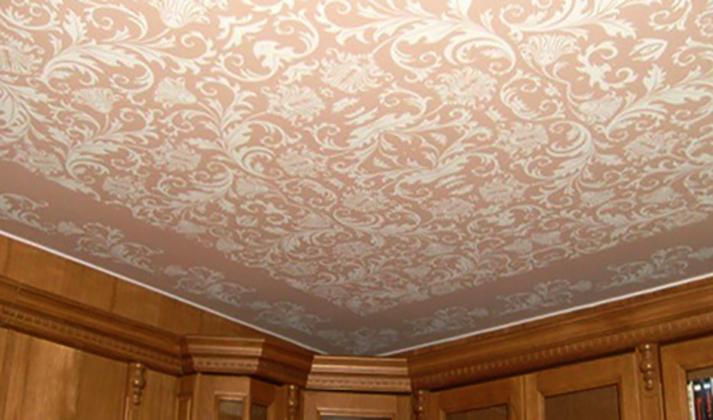 Красивый тканевый натяжной потолок