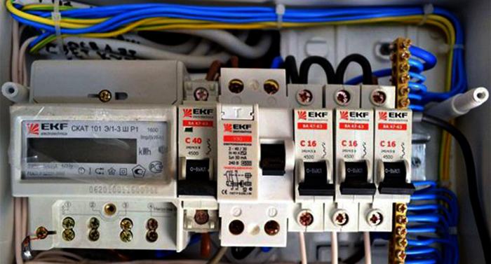 Установленные автоматические выключатели в щитке