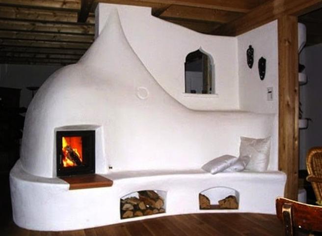 Глиняная печь с лежанкой