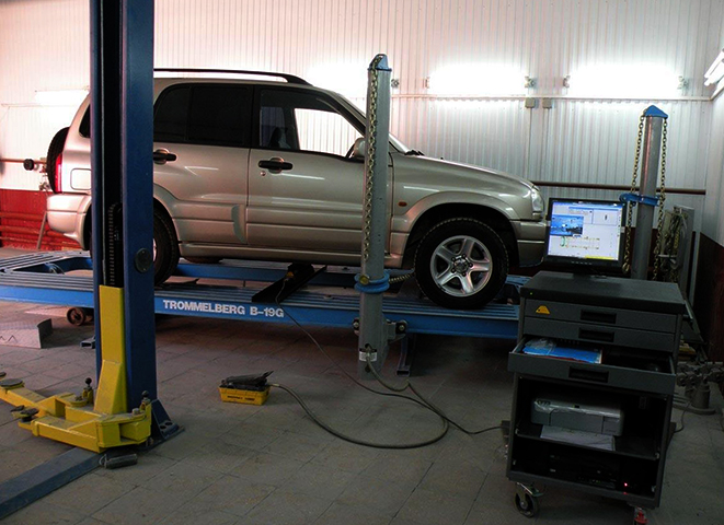 Проверка геометрии кузова автомобиля в салоне