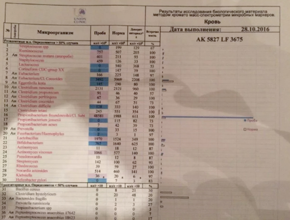Пример результата анализа ХМС по Осипову