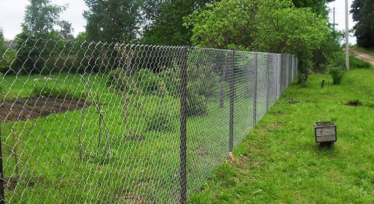Забор из сетки рабицы после установки