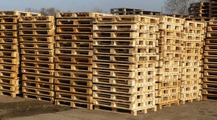 Много деревянных поддонов