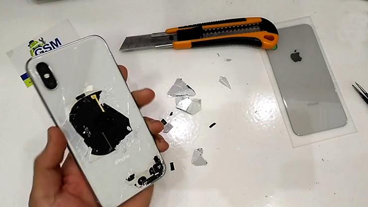 Процесс замены заднего стекла на iPhone X