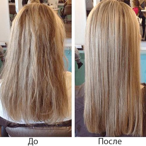 До и после нанопластики волос